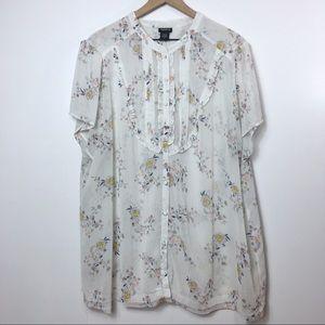 Torrid Button Up Sheer Floral Blouse, 4